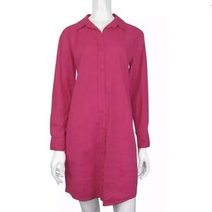Eileen Fisher Pink Button Down Shirt Dress.
